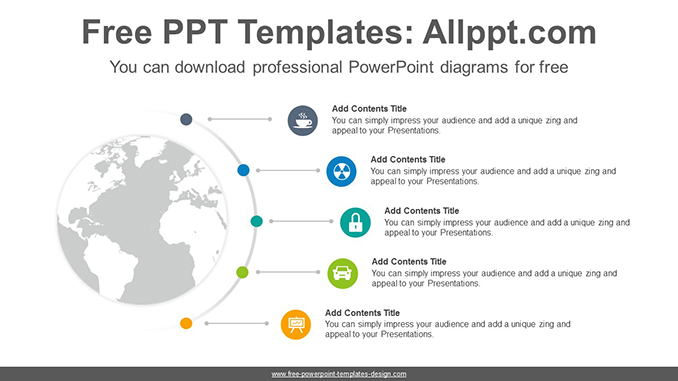Radial world map PowerPoint Diagram Template