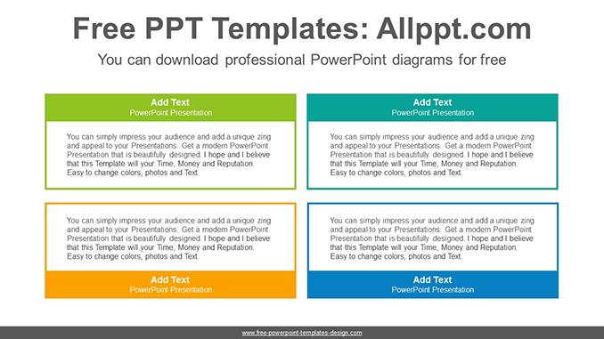 Simple color text-boxes PowerPoint Diagram Template
