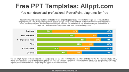 Stacked Horizontal Bar Chart Powerpoint Diagram Template