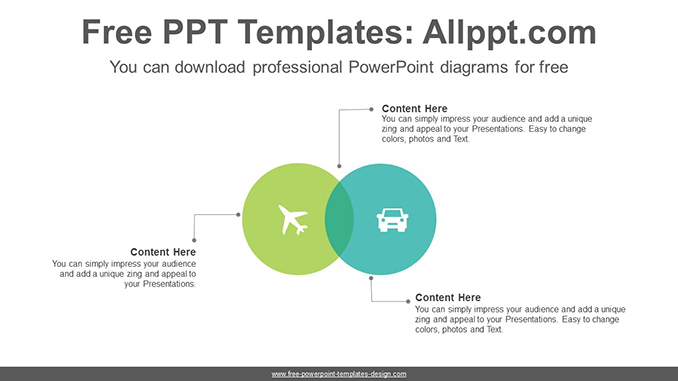 Two Circle Intersections Powerpoint Diagram Template