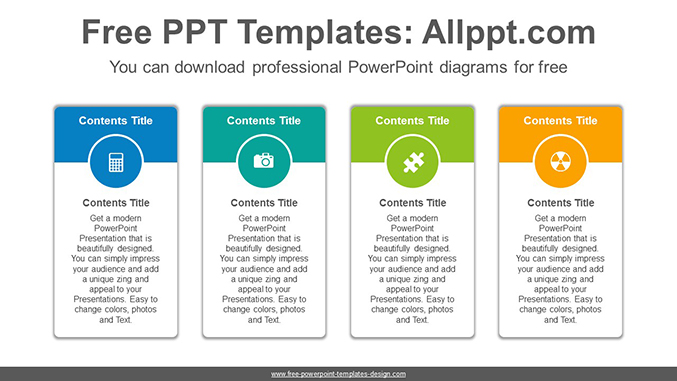 Vertical carded banner PowerPoint Diagram Template