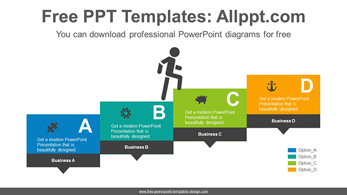 Rectangular banner staircase PowerPoint Diagram Template