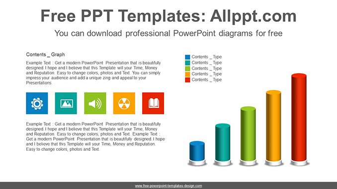 3d Cylinder Bar Chart Powerpoint Diagram For Free