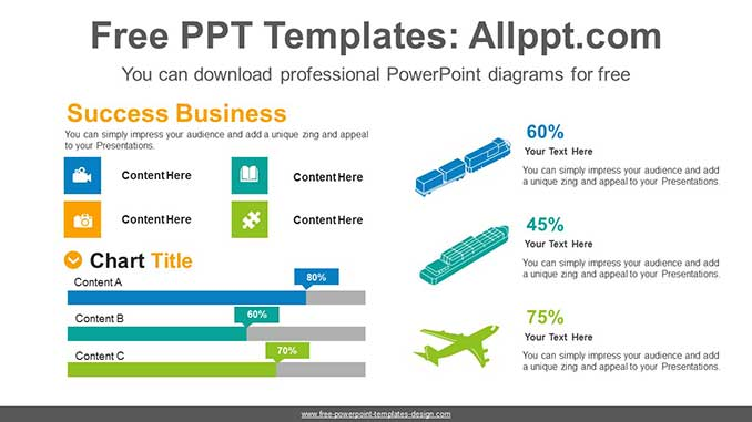 Icons Bar Chart PowerPoint Diagram for free