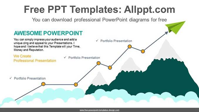 Mountain Rising Curve Powerpoint Diagram
